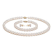 Gorgeous 14k White Freshwater Pearl Jewelry Set Including Necklace, Earrings And Bracelet