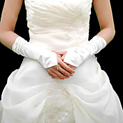 Satin Fingerless Bridal Elbow Length Gloves