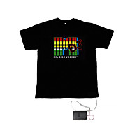 Sound and Music Activated Spectrum VU Meter EL Visualizer T-shirt  (4*AAA)