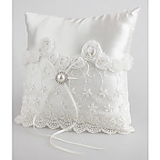Lovely Wedding Ring Pillow In White Satin With Pear And Laces