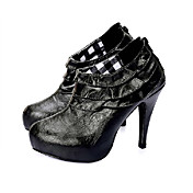 Top Quality PU Upper High Heels Short Boot With Ruffle Special Occasion Shoe/ Fashion Shoe(0987-X2984)