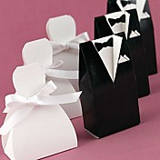 Bride & Groom Favor Box With White Ribbon (Set of 12)