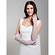 Lace/ Voile Fingerless Elbow Length Bridal Gloves