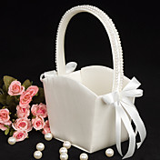 Flower Girl Basket in Ivory Satin With Pearl Lined Handle