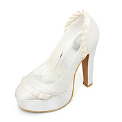 Top Quality Satin Upper High Heel Closed-toes With Lace Wedding Shoes/ Bridal Shoes