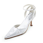 Top Quality Lace/ Satin Upper High Heel Closed-toes With Beading Wedding Shoes/ Bridal Shoes