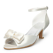 Satin Upper Mid Heel Peep-toes With Bowknot Wedding Bridal Shoes