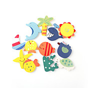 Cartoon Style Mini Wooden Fridge Magnet (12-Pack)