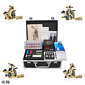 Professionele Tattoo kit Met 4 Gietijzeren Guns en LCD Power Supply