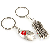 Mouse and Keyboard Shaped Metal Keychain, Pair