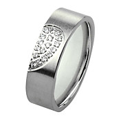 Women's Silver With Clear Titanium Steel Ring