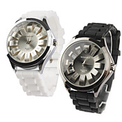Pair of Chrysanthemum Shaped Metal Dial Design Quartz Wrist Watches - Black and White