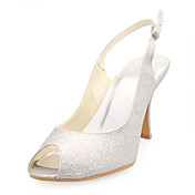 CRISTIANA - Sapato Dedo Aberto para Casamento Salto Stiletto com Glitter Brilhante