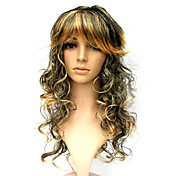 Capless Long Synthetic Black Mixed Gold Costume Party Wig