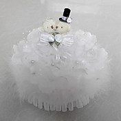 Music Box Wedding Ring Pillow With Teddy Bear And White Feather