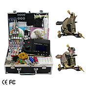 2 Handmade Damascus Tattoo Guns Kit with LCD Power Supply and 46 Color Ink