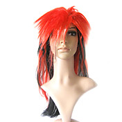 Capless Long Synthetic Red Mixed Black Costume Party Wig