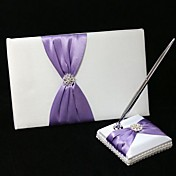Chic Wedding Guest Book And Pen Set In Satin With Lilac Sash And Rhinestone