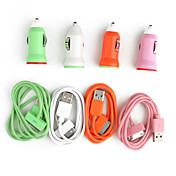 Colorido Mini Cargador de Coche con Conector USB y Cable para iPhone 4 / 4S / 3G / 3GS / y Series iPod
