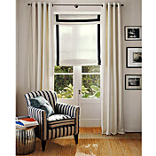 (Two Panels) White Solid Contemporary Lined Window Curtains