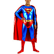 Red and Blue Shiny Metallic Men Spandex Zentai Inspired by Superman