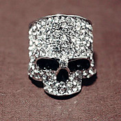 Skull In Top Hat Ring  Rhinestones In Alloy