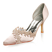 Top Quality Satin Upper High Heel Closed-toes With Lace Wedding Bridal Shoes
