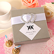 Personalized Square Favor Box With Double Silver Hearts (Set of 24)