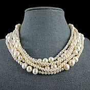 6 Strand White Freshwater Pearl Necklace  18-19 Inch