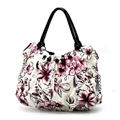 Stylish Lady's Flower PU Handbag / Black Handles