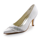 Closed Toe Satin Stiletto Pumps With Rhinestones For Wedding (More Colors)