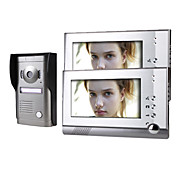 Two 7 Inch Monitor  Color Video Door Phone System with  Alloy Weatherproof Cover Camera