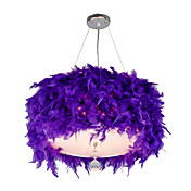 Pendant Light with 3 Lights in Feather shade