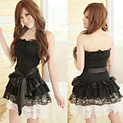 Princess Series Black And White Lace Polyester Costume