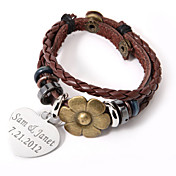 persoonlijke charme en lichtmetalen bloem op leren armband