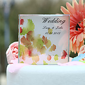 Personalized Autumn Leaves Print Wedding Cake Topper