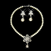 Flower Garden Ladies Pearl Necklace and Earrings Jewelry Set (50 cm)