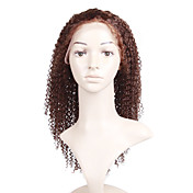 Glue-Less Hand-tied Lace Front Curly 18 Inch Indian Remy Hair Wig
