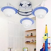 Ceiling Light with 3 Lights in Blue Featured Shade