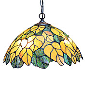 Tiffany Pendant Light with 2 Light in Golden Leaf Patterned Shade