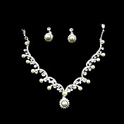 Elegant Pearls/ Rhinestone In Silver Ladies' Jewelry Set Including Necklace And Earrings