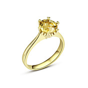 Luxurious Classic Ladies' Citrine Ring (More Materials)