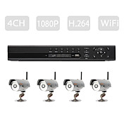 hd gevorderd niveau h.264 NVR set (4 stuks h.264 draadloze IP-camera's + 4ch/6ch verstelbare NVR)