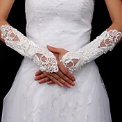 Satin Bridal Fingerless Elbow Length Gloves With Embroidery