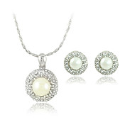 Simple Elegance Pearl With Rhinestone Two Piece Ladies' Jewelry Set (50 cm)
