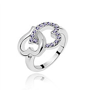 Austria Crystal Ring In Platinum-plated Alloy - Embracing Hearts (More Colors)