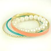 Multi-layered Design Ladies' Imitation Pearl Bracelet In Electroplating Alloy