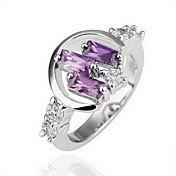 Gorgeous Crystal 18K Gold Three Purple Stone Fashion Ring