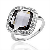 Gorgeous Crystal 18K Plated Gold Black Stone Fashion Ring