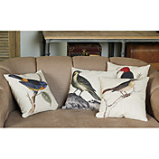 Set of 4 Birds Cotton/Linen Decorative Pillow Cover
